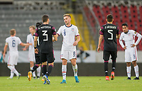 GUADALAJARA, MEXICO - MARCH 24: Djordje Mihailovic #8 of the United States and Manuel Mayorga #3 of Mexico congratulate each other after the match during a game between Mexico and USMNT U-23 at Estadio Jalisco on March 24, 2021 in Guadalajara, Mexico.