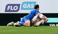 Saturday 12th September 2020 | PRO14 Final - Leinster vs Ulster<br /> <br /> James Hume scores for Ulster as he is tackled by Hugo Keenan during the Guinness PRO14 Final between Leinster ands Ulster at the Aviva Stadium, Lansdowne Road, Dublin, Ireland. Photo by John Dickson / Dicksondigital