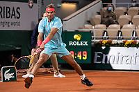 11th October 2020, Roland Garros, Paris, France; French Open tennis, mens singles final 2020; Rafael Nadal Esp  returns to Djokovic