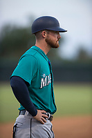 AZL Mariners manager Zac Livingston (15) during an Arizona League game against the AZL White Sox at Camelback Ranch on July 8, 2018 in Glendale, Arizona. The AZL White Sox defeated the AZL Mariners 8-5. (Zachary Lucy/Four Seam Images)
