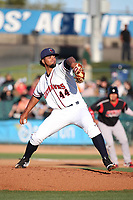 Jesus Tinoco (44) of the Lancaster JetHawks pitches against the Lake Elsinore Storm at The Hanger on June 12, 2017 in Lancaster, California. Lancaster defeated Lake Elsinore, 13-6. (Larry Goren/Four Seam Images)