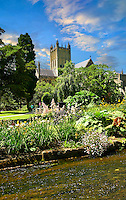 Stream flowing from St Andrews Well in the gardens of the Bishops Palace of the the medieval Wells Cathedral built in the Early English Gothic style in 1175, Wells Somerset, England