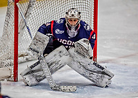 9 February 2018: University of Connecticut Huskie Goaltender Annie Belanger, a Senior from Sherbrooke, Quebec, in third period action against the University of Vermont Catamounts at Gutterson Fieldhouse in Burlington, Vermont. The Lady Cats defeated the Huskies 1-0 the first game of their weekend Hockey East series. Mandatory Credit: Ed Wolfstein Photo *** RAW (NEF) Image File Available ***