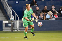 KANSAS CITY, KS - MAY 29: Tim Melia #29 Sporting KC with the ball during a game between Houston Dynamo and Sporting Kansas City at Children's Mercy Park on May 29, 2021 in Kansas City, Kansas.