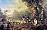 """Oil on canvas painting, """"Pilgrimage to the Island of Cythera"""", 1717-19. By Jean-Antoine Watteau."""