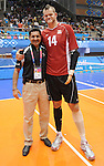 November 18 2011 - Guadalajara, Mexico:  Canada's Minister of Sport Bal Gosal with Canada's Greg Stewart after deafeating Columbia in the Bronze Medal Game in the Pan American Volleyball Complex at the 2011 Parapan American Games in Guadalajara, Mexico.  Photos: Matthew Murnaghan/Canadian Paralympic Committee