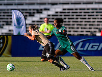 FC Gold Pride forward Tiffeny Milbrett (15) and Saint Louis Athletica defender Kia McNeill (6) during a WPS match at Anheuser-Busch Soccer Park, in St. Louis, MO, July 26, 2009.  The match ended in a 1-1 tie.