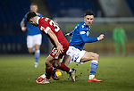 St Johnstone v Aberdeen…27.01.21   McDiarmid Park   SPFL<br />Michael O'Halloran is tackled by Matty Kennedy<br />Picture by Graeme Hart.<br />Copyright Perthshire Picture Agency<br />Tel: 01738 623350  Mobile: 07990 594431