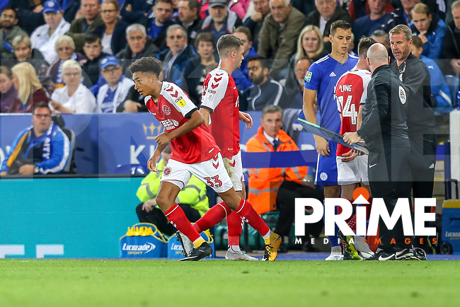 James Hill of Fleetwood Town (33) comes on as a substitute to make his debut during the English League Cup Round 2 Group North match between Leicester City and Fleetwood Town at the King Power Stadium, Leicester, England on 28 August 2018. Photo by David Horn.