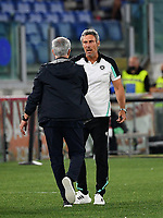 Calcio, Serie A: AS Roma vs Udinese, Olympic stadium, September 23, 2021.<br /> AS Roma's coach José Mourinho (L) greets Udinese's coach Luca Gotti (R) at the end of the Italian Serie A football match between Roma and Udinese at Rome's Olympic stadium, on September 23, 2021.<br /> UPDATE IMAGES PRESS/Isabella  Bonotto