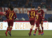 Football, Serie A: AS Roma - Genoa, Olympic stadium, Rome, December 16, 2018. <br /> Roma's Federico Fazio (r) celebrates after scoring with his teammates during the Italian Serie A football match between Roma and Genoa at Rome's Olympic stadium, on December 16, 2018.<br /> UPDATE IMAGES PRESS/Isabella Bonotto