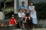 Professor Stephen Hawking 1981 Cambridge UK 1980s with young family. <br />