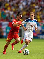 Dries Mertens of Belgium and Oleg Shatov of Russia