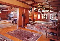 Greene & Greene:  Gamble House, Pasadena CA. , 1908.  Interior of Entrance. (Photo Nov. 1988)