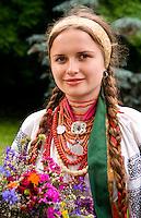 Woman in traditional attire, Kiev, Ukraine