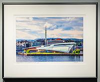 """Framed Size 16""""h x 20""""w, $310<br /> Graphite Nielsen 15 metal frame"""