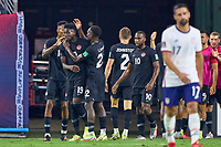 5th September 2021; Nashville, TN, USA;  Canada defender Alphonso Davies (19) celebrates with teammates after assisting the goal for Cyle Larin (17) to score a goal during a CONCACAF World Cup qualifying match between the United States and Canada on September 5, 2021 at Nissan Stadium in Nashville, TN.