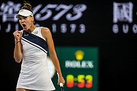 12th February 2021, Melbourne, Victoria, Australia; Veronika Kudermetova of Russia celebrates after winning a game during round 3 of the 2021 Australian Open on February 12 2020, at Melbourne Park in Melbourne, Australia.