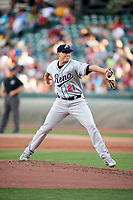 Reno Aces starting pitcher Frank Duncan (21) delivers a pitch to the plate against the Salt Lake Bees  in Pacific Coast League action at Smith's Ballpark on June 15, 2017 in Salt Lake City, Utah. The Aces defeated the Bees 13-5. (Stephen Smith/Four Seam Images)