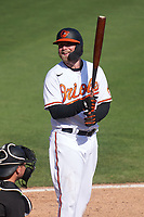 Baltimore Orioles Taylor Davis (37) bats during a Major League Spring Training game against the Pittsburgh Pirates on February 28, 2021 at Ed Smith Stadium in Sarasota, Florida.  (Mike Janes/Four Seam Images)