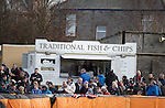Fish and Chips at the football and no pies. Welcome to England