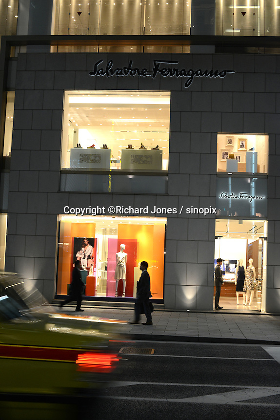 SALVADORE FELLAGAMO, ITALIAN LUXURY BRAND SHOP IN GINZA, TOKYO