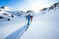 A ski tour through the Pirin Mountains of Bulgaria. Ski touring on the Kamenitsa Mountain from the Tevno Ezero Hut.