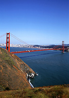 The famous Golden Gate Bridge and bay. San Francisco, California.