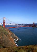 The famous Golden Gate Bridge and bay. San Francisco, California.