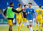 St Johnstone v Falkirk…24.07.18…  McDiarmid Park    Betfred Cup<br />Matty Kennedy sahkes hands with Dennon Lewis at full time after making his saints debut<br />Picture by Graeme Hart. <br />Copyright Perthshire Picture Agency<br />Tel: 01738 623350  Mobile: 07990 594431