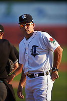 Connecticut Tigers manager Mike Rabelo (20) during the lineup exchange before the first game of a doubleheader against the Brooklyn Cyclones on September 2, 2015 at Senator Thomas J. Dodd Memorial Stadium in Norwich, Connecticut.  Brooklyn defeated Connecticut 7-1.  (Mike Janes/Four Seam Images)