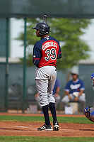 Cleveland Indians Oscar Gonzalez (39) during an instructional league game against the Los Angeles Dodgers on October 15, 2015 at the Goodyear Ballpark Complex in Goodyear, Arizona.  (Mike Janes/Four Seam Images)