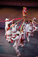 "Dancers Perform ""the Ribbon Dance"", Performance of ""Mexico Espectacular"", Xcaret, Playa del Carmen, Riviera Maya, Yucatan, Mexico."