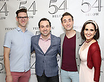 Ben Durocher, Ron McClure, Jason Jacoby and Stephanie D'Abruzzo backstage at the 'Avenue Q' 15th Anniversary Reunion Concert at Feinstein's/54 Below on July 30, 2018 in New York City.