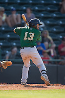Luis Guillorme (13) of the Savannah Sand Gnats at bat against the Hickory Crawdads at L.P. Frans Stadium on June 14, 2015 in Hickory, North Carolina.  The Crawdads defeated the Sand Gnats 8-1.  (Brian Westerholt/Four Seam Images)