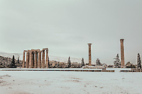 Pictured: The snow covered ancient monument of Olympic Zeus, Athens, Greece. Tuesday 10 January 2017<br /> Re: Heavy snow fall and minus zero temperatures have affected most parts of eastern Europe and Greece.