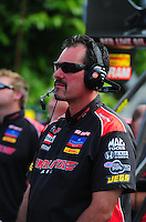 Aug. 7, 2011; Kent, WA, USA; NHRA top fuel dragster crew member for driver David Grubnic during the Northwest Nationals at Pacific Raceways. Mandatory Credit: Mark J. Rebilas-US PRESSWIRE