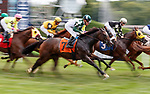 Miss Nancy (Julien Laparoux up) passes the finish line first time by as Glory to Kitten (no. 1) wins Race 1, Aug. 19, 2018 at the Saratoga Race Course, Saratoga Springs, NY.  Ridden by  Irad Ortiz, Jr., and trained by Jorge Abreu,  Glory to Kitten  finished 1 3/4 lengths in front of Free N Clear (no. 3).  (Bruce Dudek/Eclipse Sportswire)