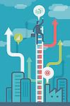 Illustrative image of businessman climbing ladder representing growth