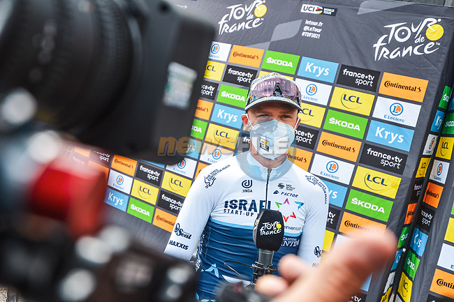 Chris Froome (GBR) Israel Start-Up Nation at sign on before Stage 16 of the 2021 Tour de France, running 169km from Pas de la Case to Saint-Gaudens, France. 13th July 2021.  <br /> Picture: A.S.O./Charly Lopez | Cyclefile<br /> <br /> All photos usage must carry mandatory copyright credit (© Cyclefile | A.S.O./Charly Lopez)