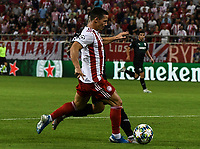 Olympiakos's Daniel Podence in action during the UEFA Champions League playoff first leg soccer match between Olympiakos and Krasnodar at Karaiskaki stadium in Piraeus, Greece, on 21 August 2019
