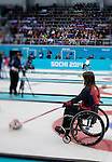 Sochi, RUSSIA - Mar 10 2014 -  Ina Forrest calls a shot during Canada vs Norway in Wheelchair Curling round robin play at the 2014 Paralympic Winter Games in Sochi, Russia.  (Photo: Matthew Murnaghan/Canadian Paralympic Committee)