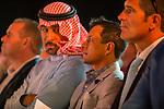 MEYDAN,DUBAI-MARCH 23: Victor Espinoza,the jockey of California Chrome is looking at Dubai World Cup Post Position Draw at Meydan Theater on March 23,2016 in Meydan,Dubai (Photo by Kaz Ishida)