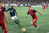 FOXBOROUGH, MA - SEPTEMBER 21: Brooks Lennon #12 of Real Salt Lake dribbles down the wing during a game between Real Salt Lake and New England Revolution at Gillette Stadium on September 21, 2019 in Foxborough, Massachusetts.