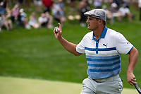 4th June 2021; Dublin, Ohio, USA;    Bryson DeChambeau (USA) waves to the crowd after sinking his put on the 18th hole during the second round of the Memorial Tournament at Muirfield Village Golf Club in Dublin, Ohio on June 04, 2021.