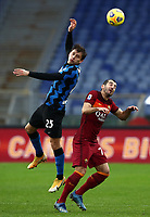 Football, Serie A: AS Roma -  FC Internazionale Milano, Olympic stadium, Rome, January 10, 2021. <br /> Inter's Nicolò Barella (l) in action with Roma's Henrikh Mkhitaryan (r) during the Italian Serie A football match between Roma and Inter at Rome's Olympic stadium, on January 10, 2021.  <br /> UPDATE IMAGES PRESS/Isabella Bonotto