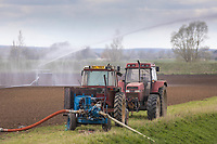14-4-2021 Irrigating Spring drilling in the Lincolnshire fens<br /> ©Tim Scrivener Photographer 07850 303986<br />      ....Covering Agriculture In The UK....