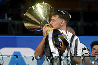 Aaron Ramsey of Juventus celebrates the victory of the italian championship at the end of the Serie A football match between Juventus FC and AS Roma at Juventus stadium in Turin (Italy), August 1st, 2020. Play resumes behind closed doors following the outbreak of the coronavirus disease. Photo Andrea Staccioli / Insidefoto