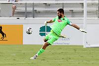 CARY, NC - AUGUST 01: Matt Vanoekel #1 kicks the ball during a game between Birmingham Legion FC and North Carolina FC at Sahlen's Stadium at WakeMed Soccer Park on August 01, 2020 in Cary, North Carolina.
