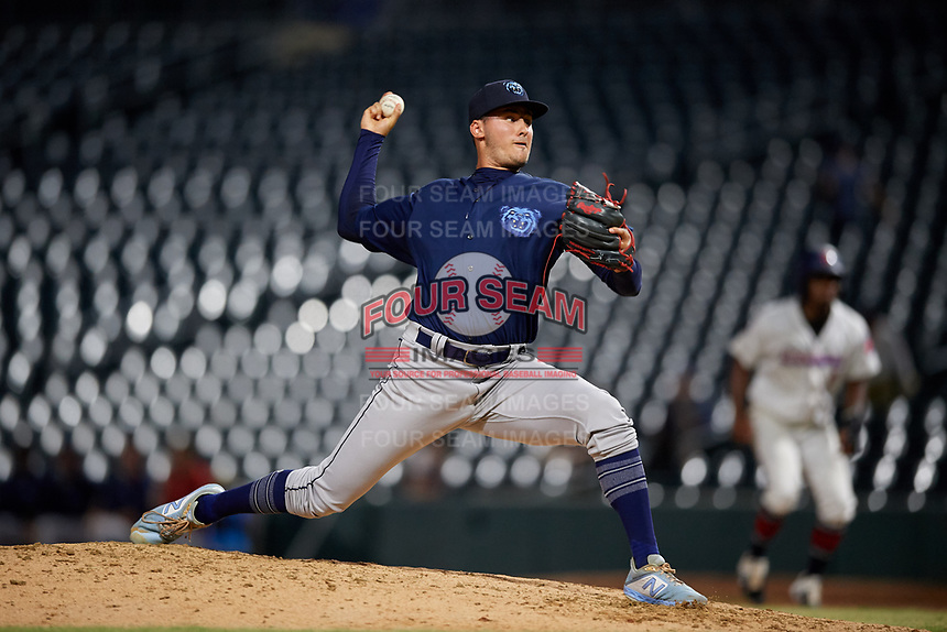 Mobile BayBears relief pitcher Joe Gatto (33) during a Southern League game against the Jacksonville Jumbo Shrimp on May 28, 2019 at Baseball Grounds of Jacksonville in Jacksonville, Florida.  Mobile defeated Jacksonville 2-1.  (Mike Janes/Four Seam Images)